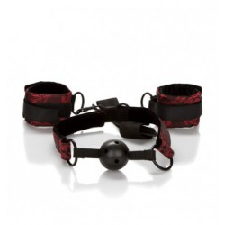 Kajdanki + Knebel SCANDAL Breathable Ball Gag with Cuffs