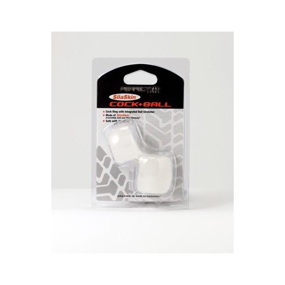 Pierścień erekcyjny Perfect Fit - SilaSkin Cock & Ball (biały)